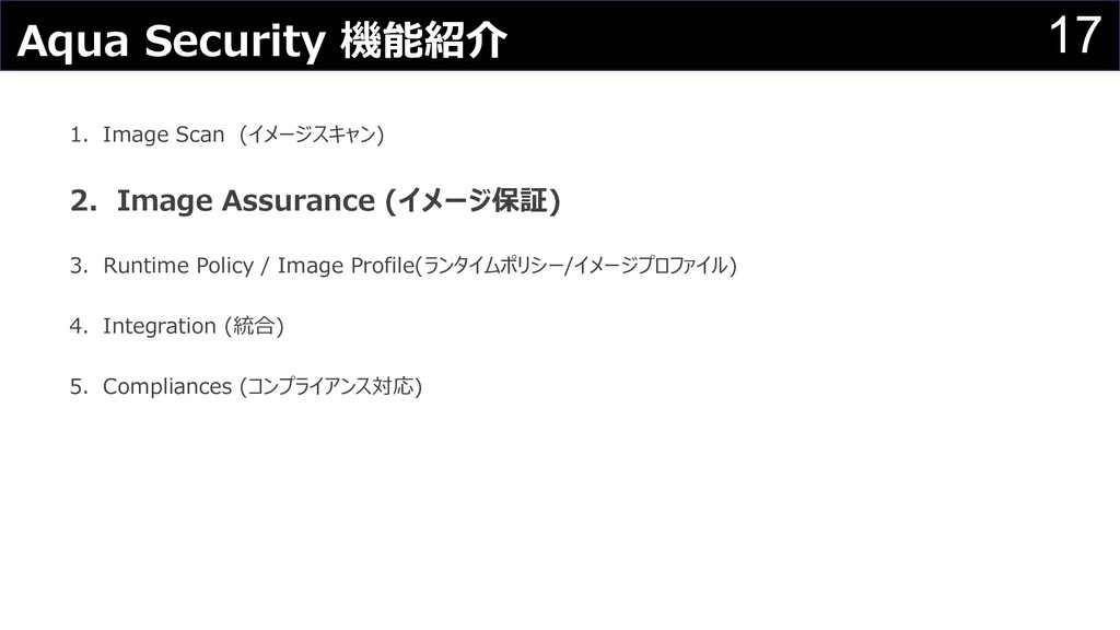 17 Aqua Security 機能紹介 1.Image Scan (イメージスキャン) 2...