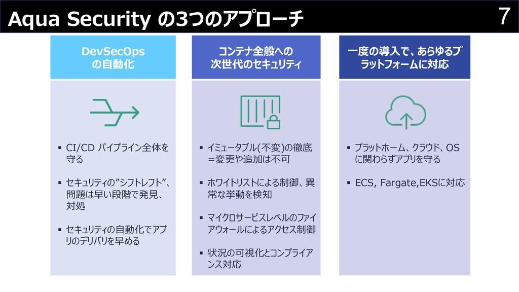 7 Aqua Security の3つのアプローチ DevSecOps の⾃動化 コンテナ全般...