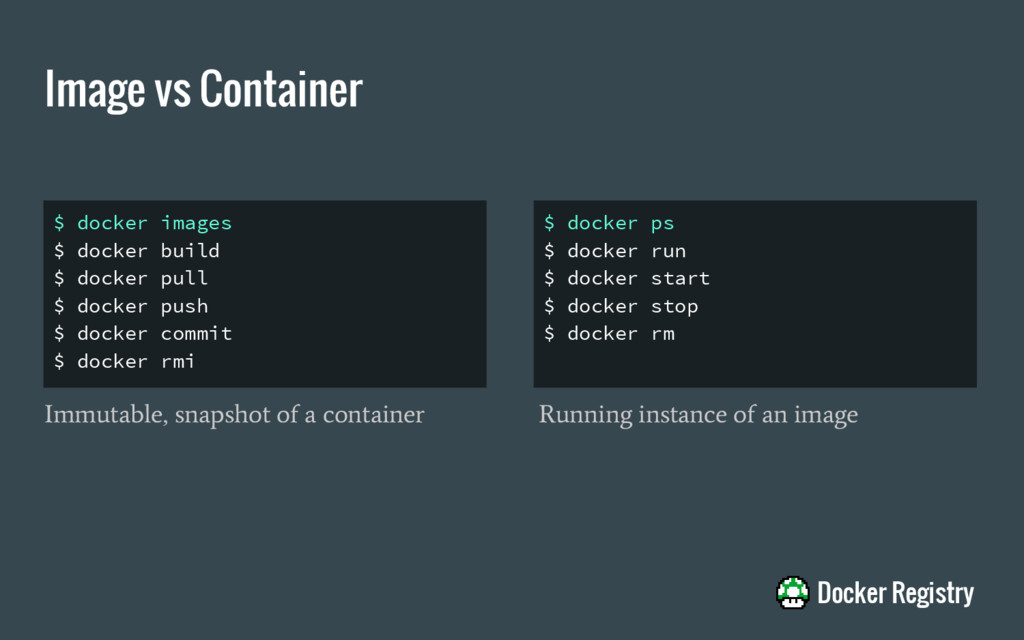 Image vs Container $ docker images $ docker bui...