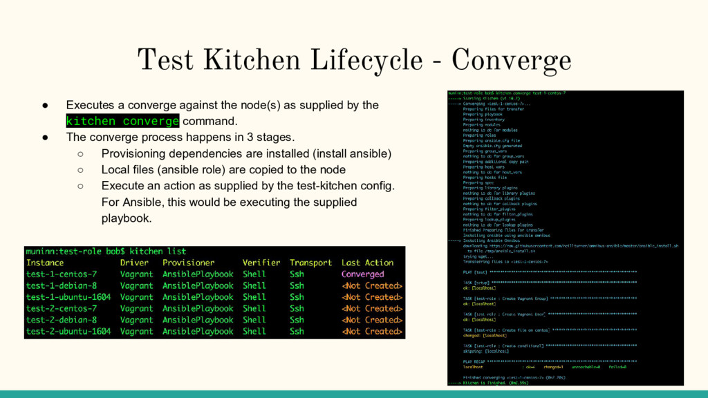 Test Kitchen Lifecycle - Converge ● Executes a ...
