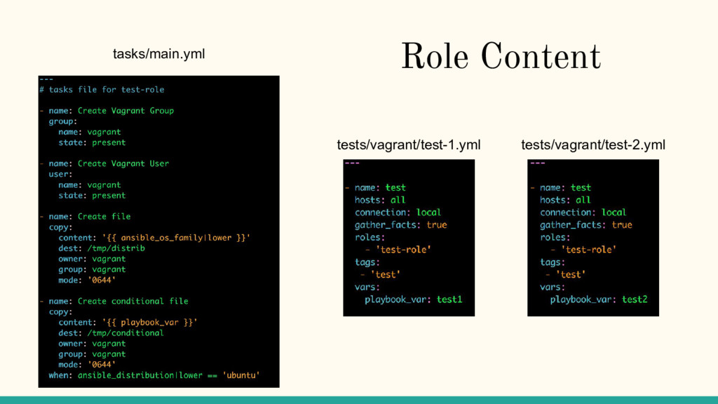 Role Content tests/vagrant/test-1.yml tests/vag...