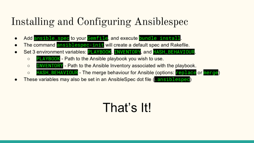 Installing and Configuring Ansiblespec ● Add an...