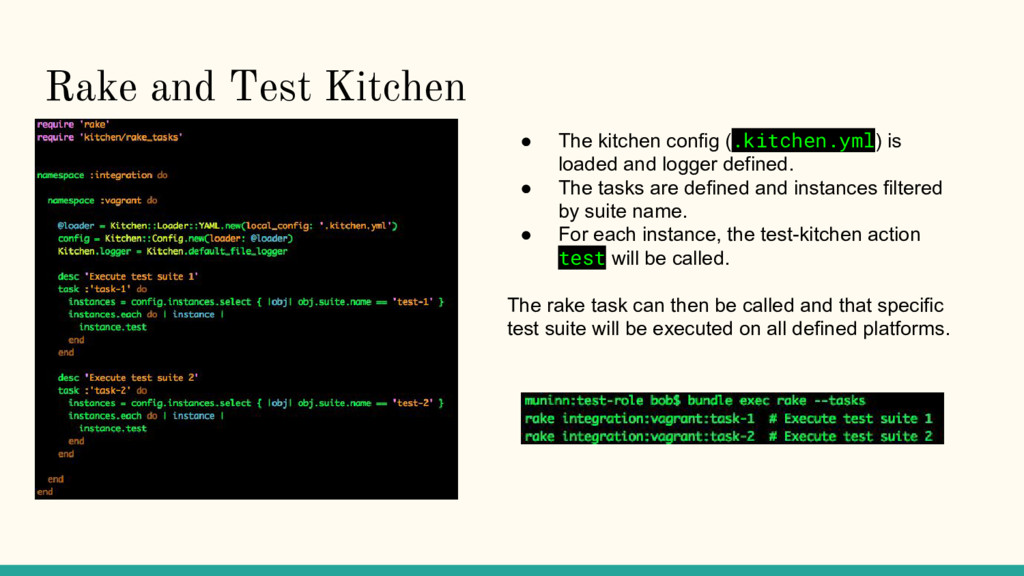 Rake and Test Kitchen ● The kitchen config (.ki...