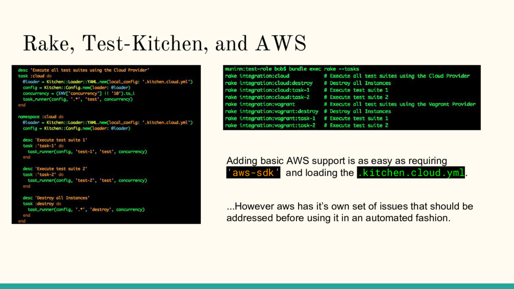 Rake, Test-Kitchen, and AWS Adding basic AWS su...