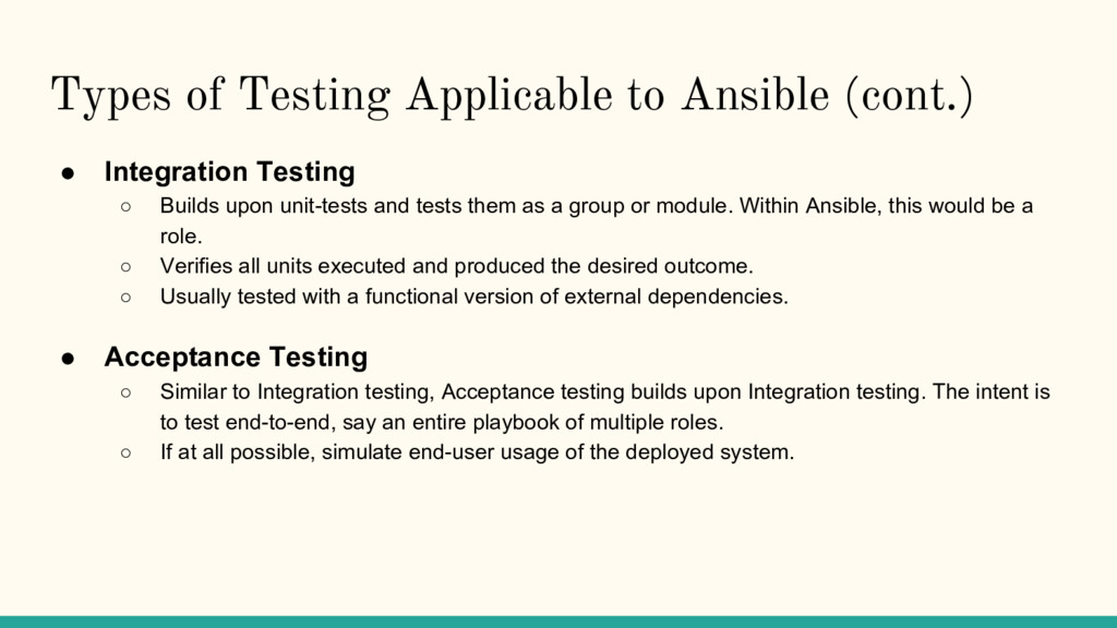 Types of Testing Applicable to Ansible (cont.) ...