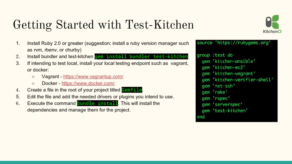 Getting Started with Test-Kitchen 1. Install Ru...