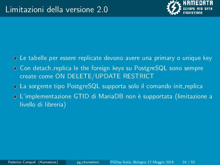 Limitazioni della versione 2.0 Le tabelle per e...