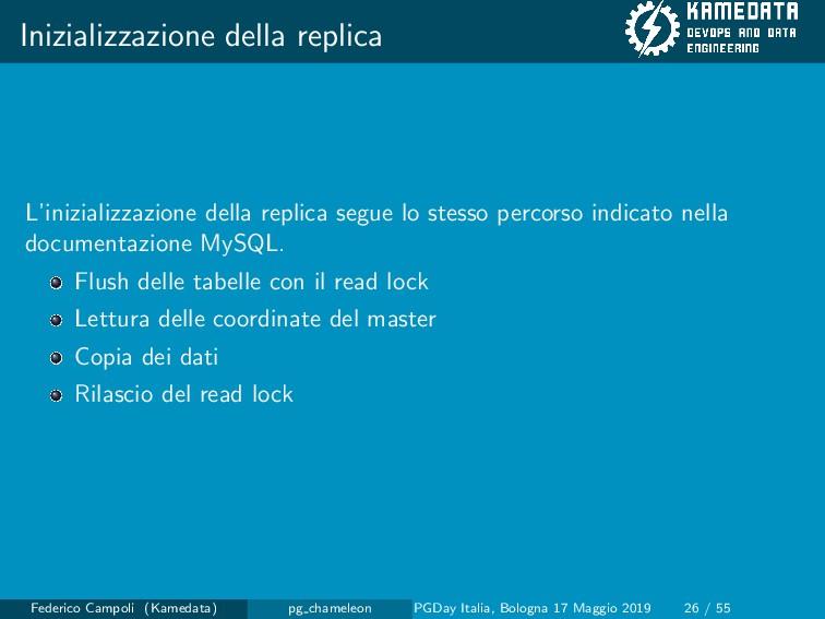 Inizializzazione della replica L'inizializzazio...