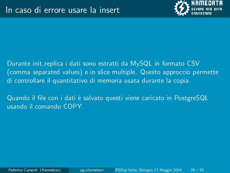 In caso di errore usare la insert Durante init ...