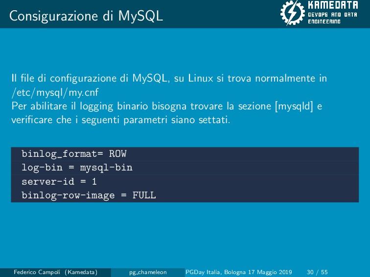 Consigurazione di MySQL Il file di configurazione...