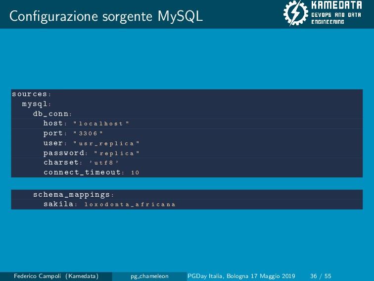 Configurazione sorgente MySQL sources: mysql: db...