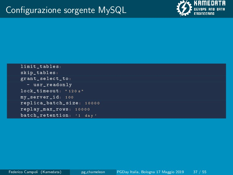 Configurazione sorgente MySQL limit_tables: skip...