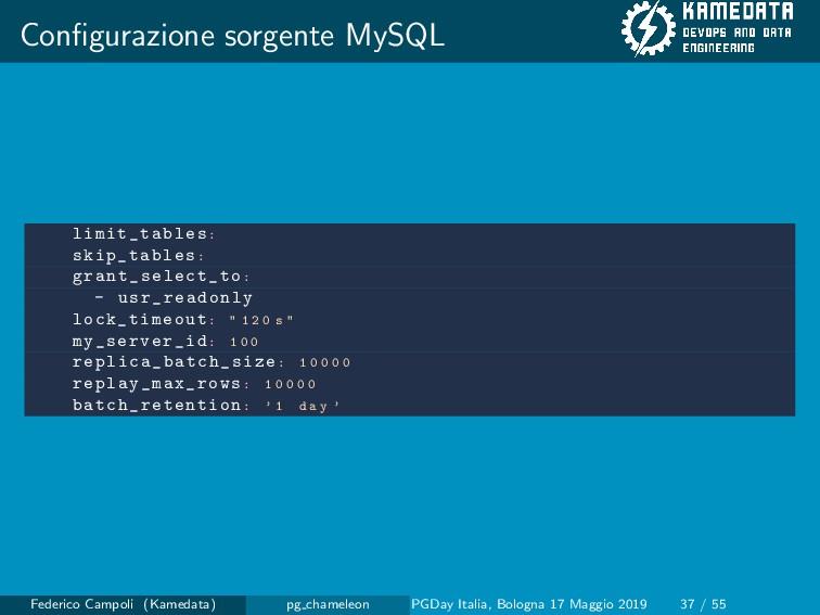 Configurazione sorgente MySQL limit_tables: skip...