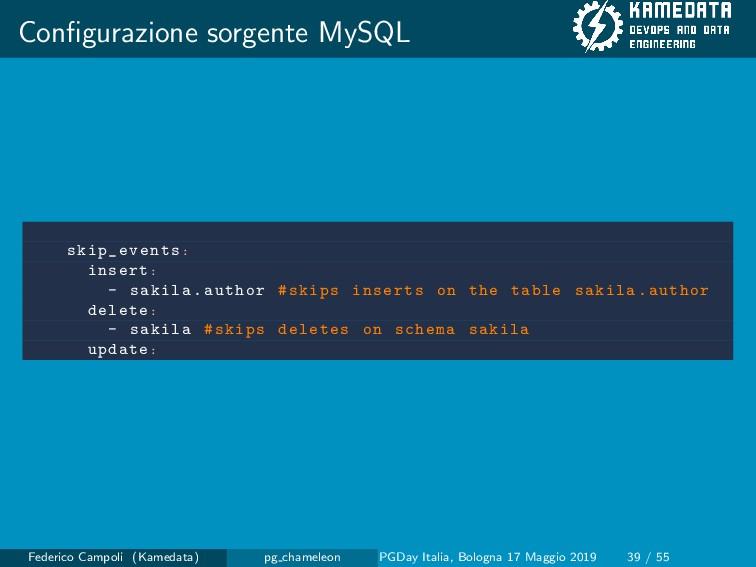 Configurazione sorgente MySQL skip_events: inser...