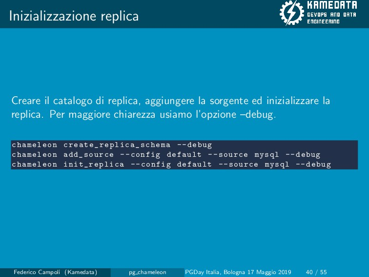 Inizializzazione replica Creare il catalogo di ...