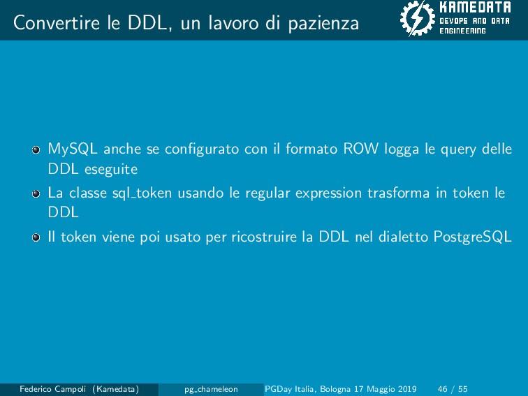 Convertire le DDL, un lavoro di pazienza MySQL ...