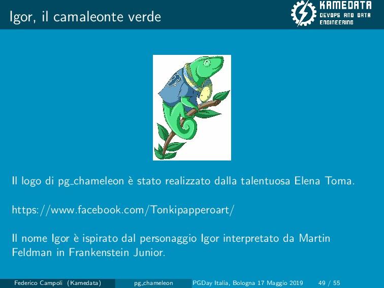 Igor, il camaleonte verde Il logo di pg chamele...