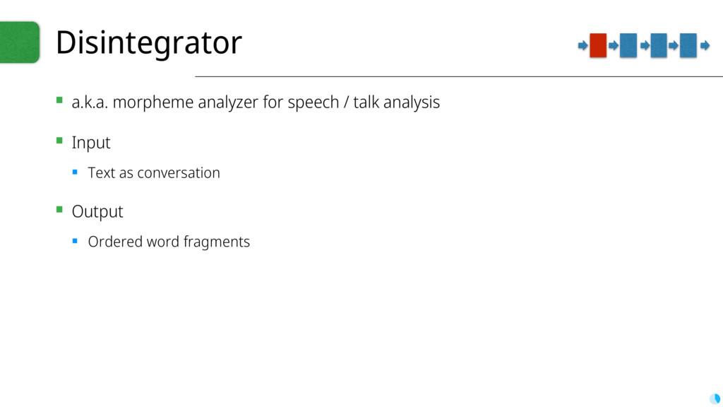 Disintegrator ▪ a.k.a. morpheme analyzer for sp...