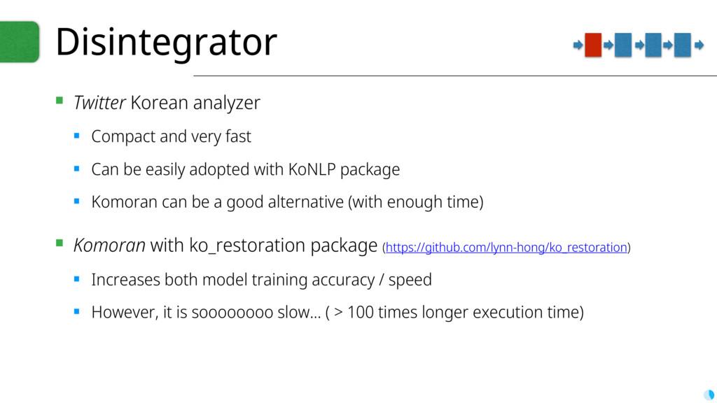 Disintegrator ▪ Twitter Korean analyzer ▪ Compa...