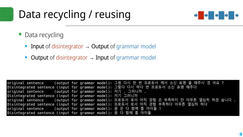 Data recycling / reusing ▪ Data recycling ▪ Inp...