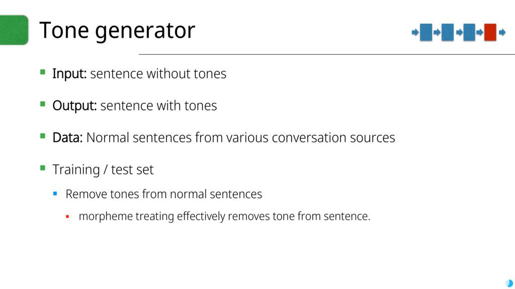 Tone generator ▪ Input: sentence without tones ...