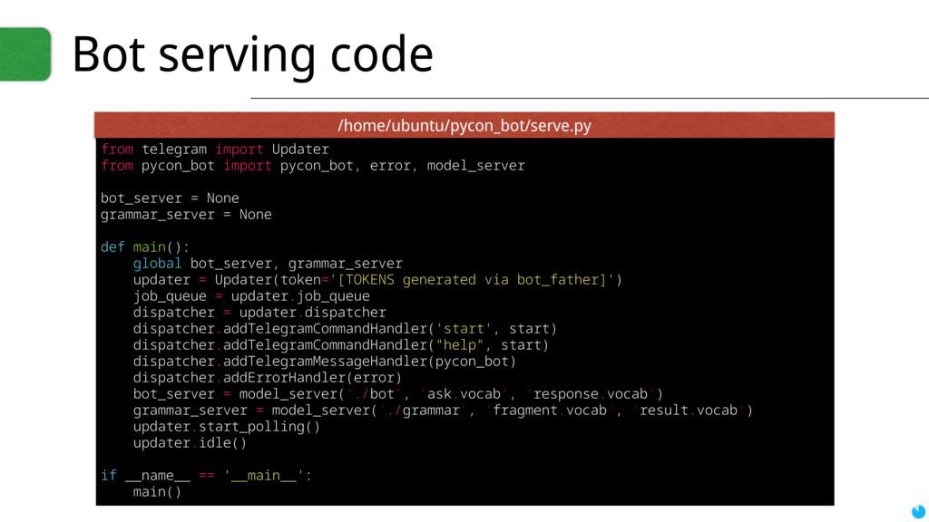 Bot serving code from telegram import Updater f...