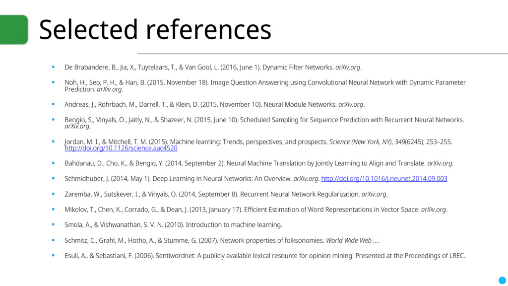 Selected references ▪ De Brabandere, B., Jia, X...