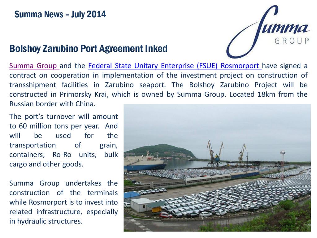 Bolshoy Zarubino Port Agreement Inked Summa Gro...