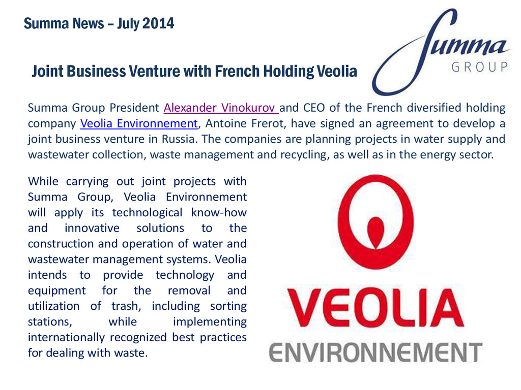 Joint Business Venture with French Holding Veol...