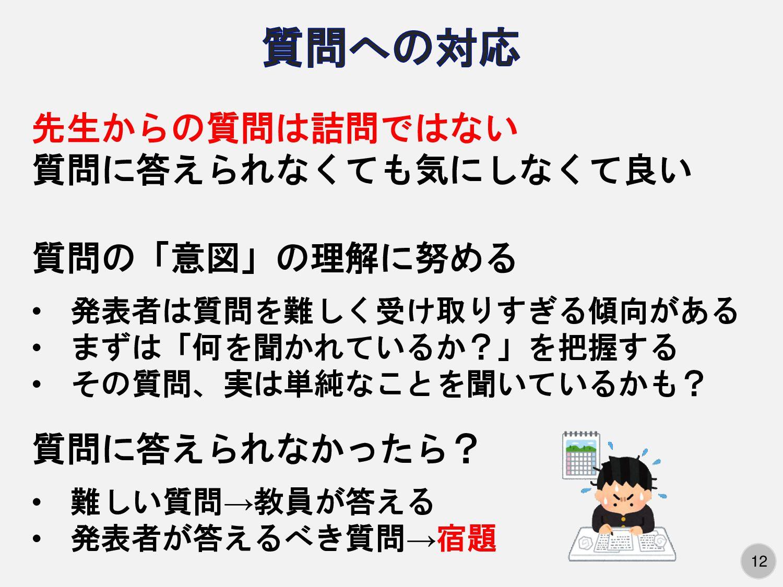 12 先生からの質問は詰問ではない 質問に答えられなくても気にしなくて良い 質問の「意図」の理...