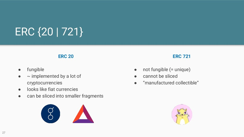 ERC {20 | 721} ERC 20 ● fungible ● ~ implemente...