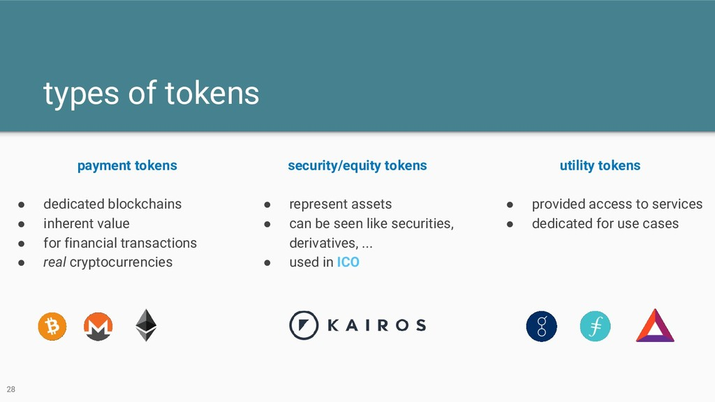 types of tokens payment tokens ● dedicated bloc...