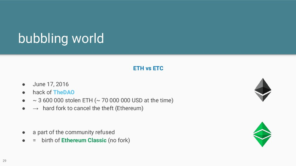 bubbling world 29 ETH vs ETC ● June 17, 2016 ● ...
