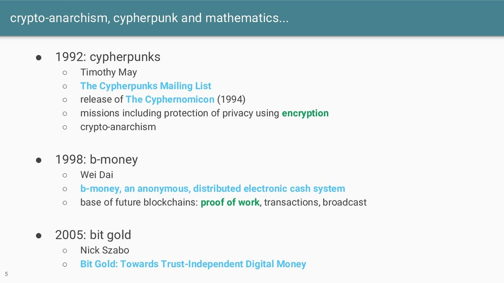 crypto-anarchism, cypherpunk and mathematics......