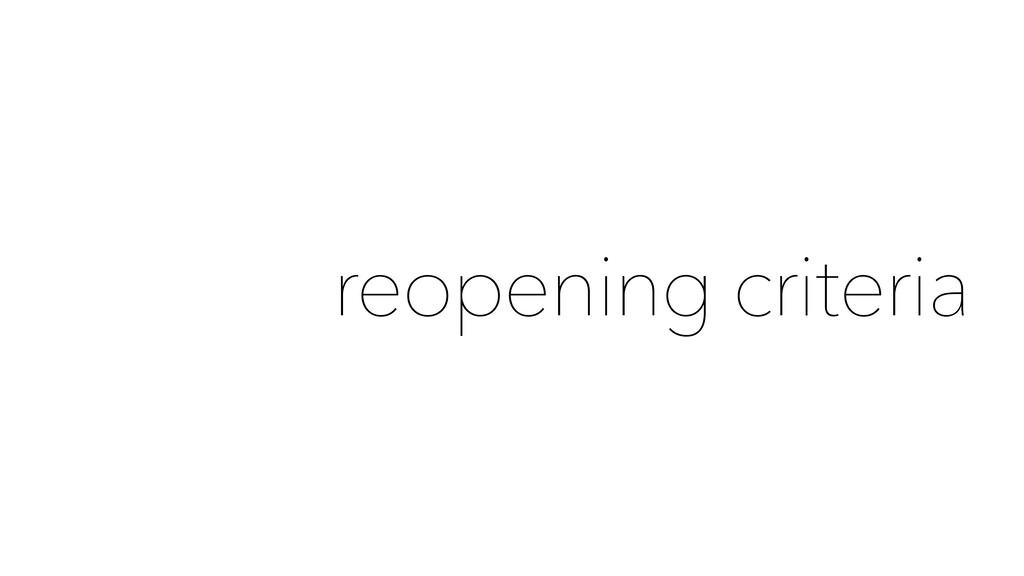 reopening criteria