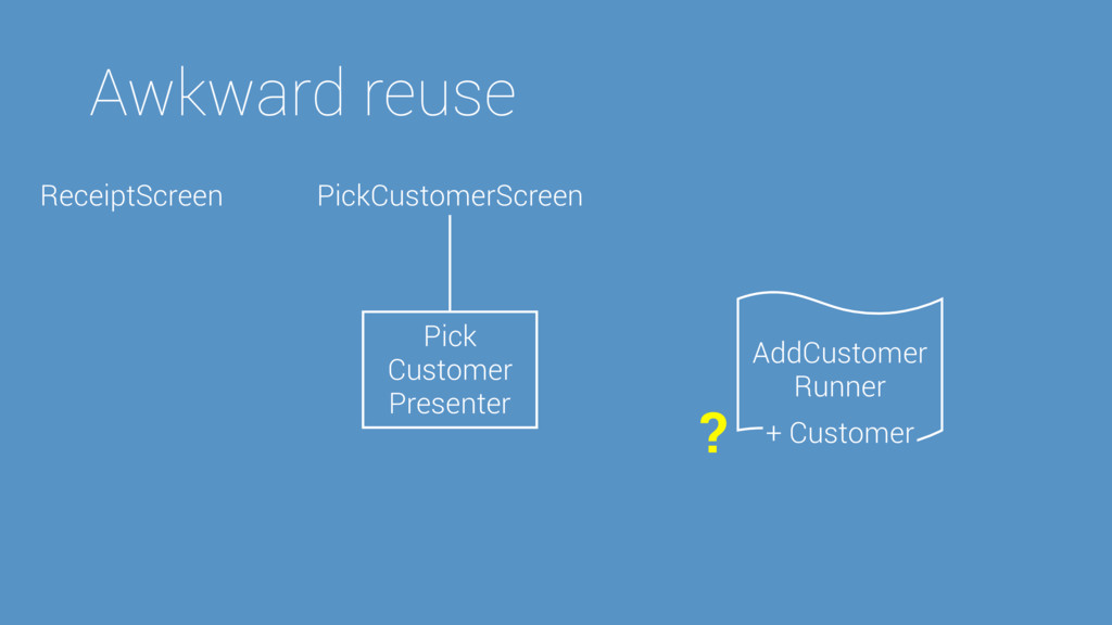 AddCustomer Runner Awkward reuse Pick Customer ...