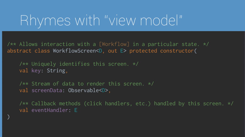 "Rhymes with ""view model"" /** Allows interaction..."