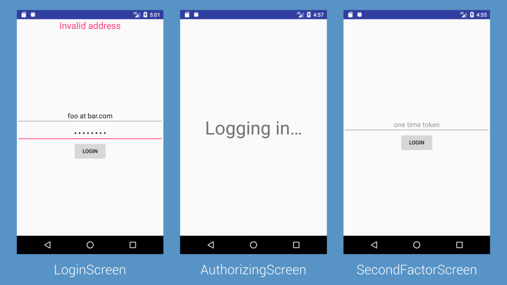 LoginScreen AuthorizingScreen SecondFactorScreen