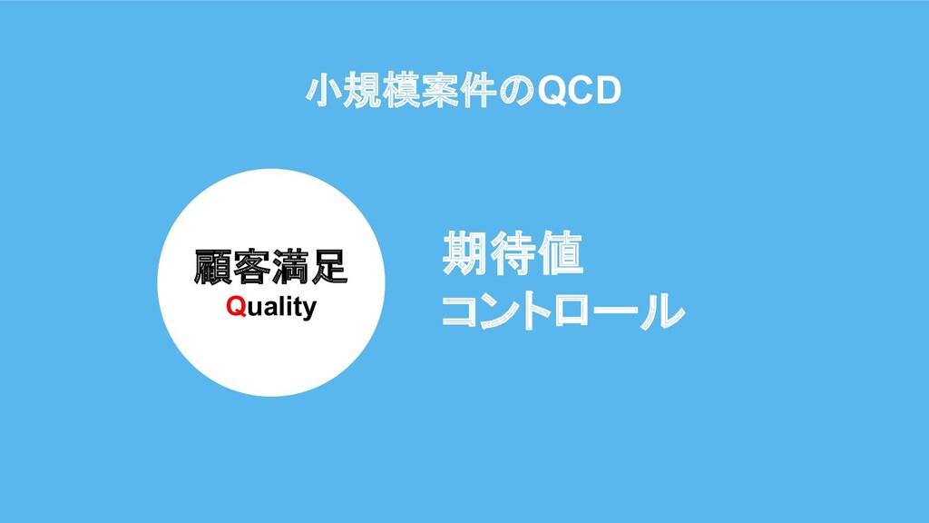 小規模案件のQCD 顧客満足 Quality 期待値 コントロール