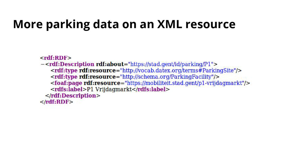 More parking data on an XML resource