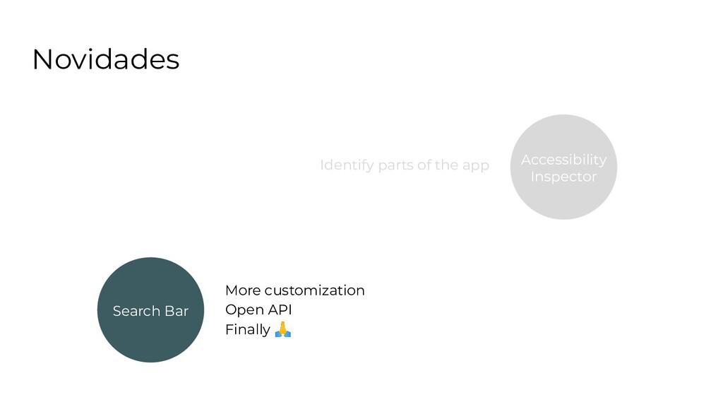 Novidades Search Bar More customization Open AP...