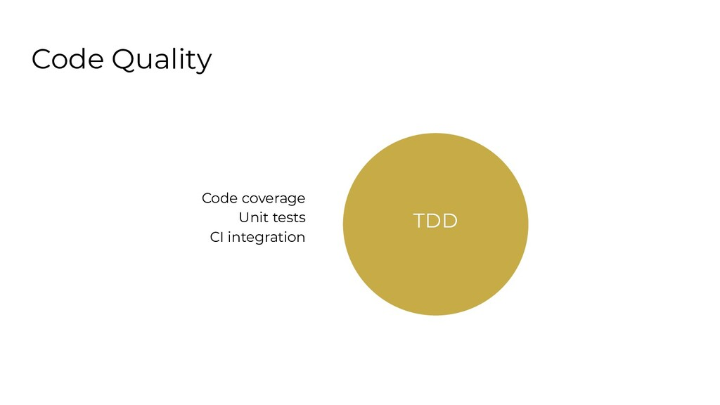Code Quality TDD Code coverage Unit tests CI in...