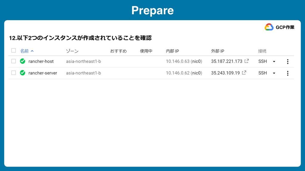 Prepare 12.以下2つのインスタンスが作成されていることを確認 GCP作業