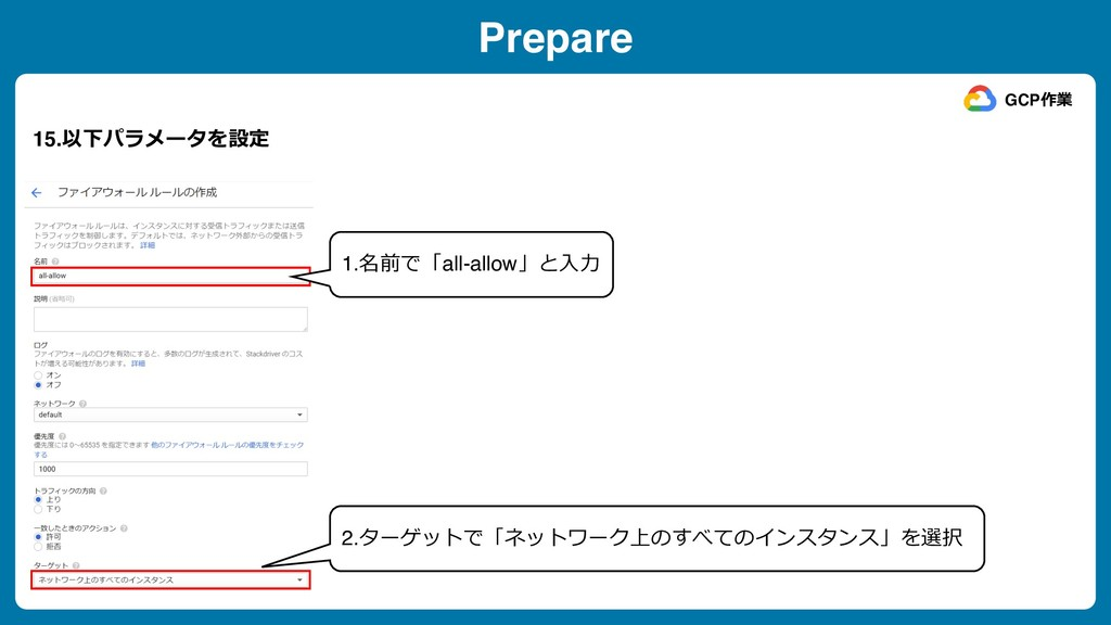 Prepare 15.以下パラメータを設定 GCP作業 1.名前で「all-allow」と⼊⼒...