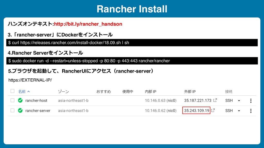 Rancher Install 3.「rancher-server」にDockerをインストー...