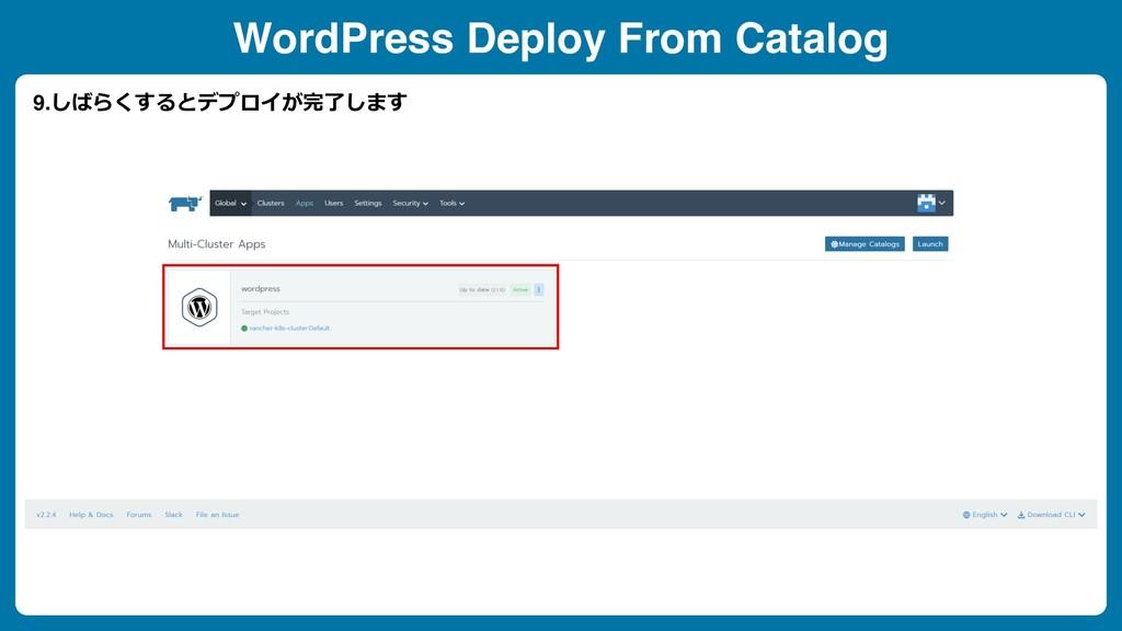 WordPress Deploy From Catalog 9.しばらくするとデプロイが完了し...
