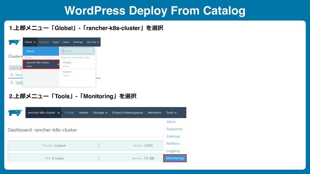 WordPress Deploy From Catalog 1.上部メニュー「Global」-...