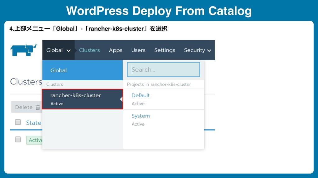 WordPress Deploy From Catalog 4.上部メニュー「Global」-...