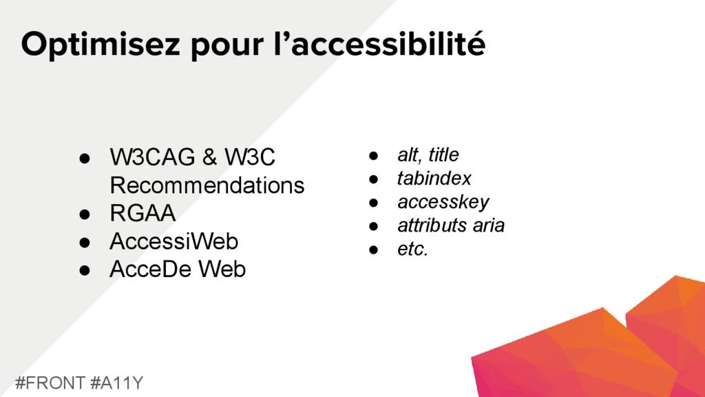 Optimisez pour l'accessibilité #FRONT #A11Y ● W...
