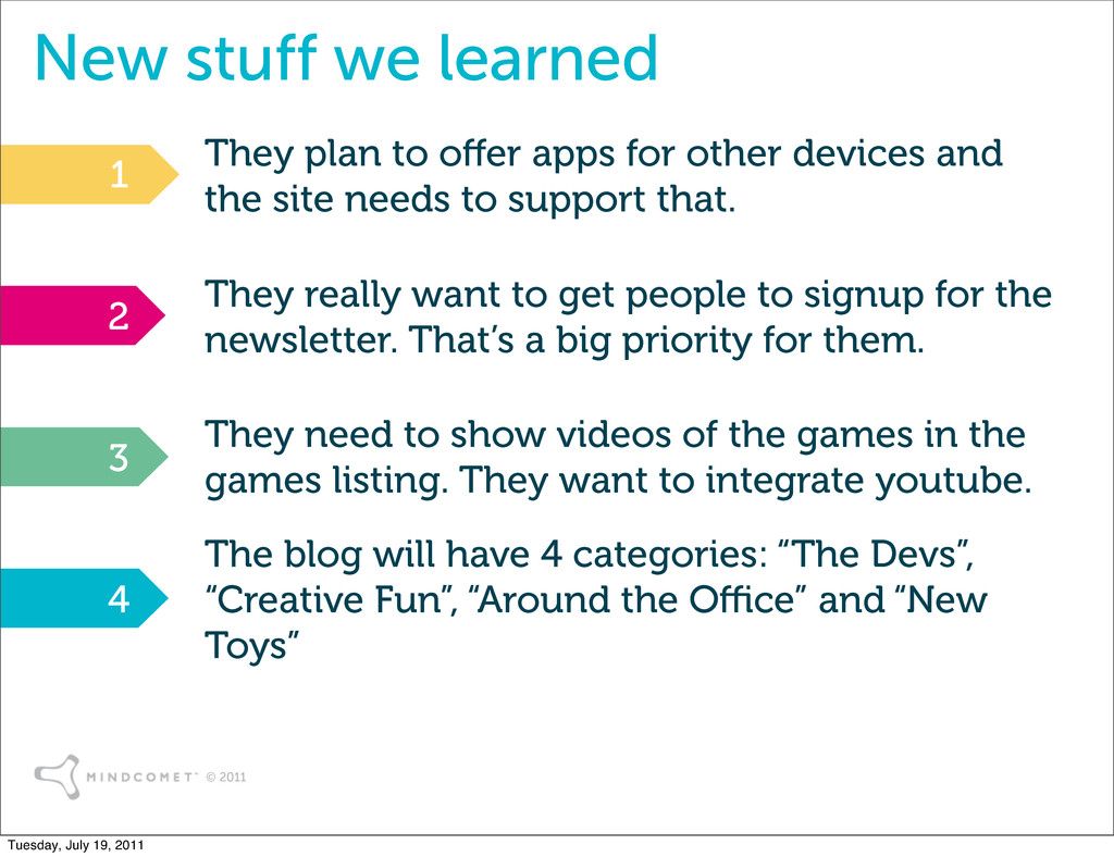 © 2011 New stuff we learned They plan to o er a...